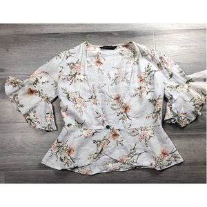 Zara blouse bell sleeves floral button front boho